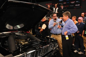 SPEED's Steve Magnante and Mike Joy during an on-air commentary on the Barrett-Jackson auction block at Scottsdale, 2009.
