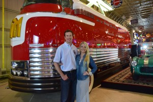 Kurt Busch, Armed Forces Foundation Ambassador and Patricia Driscoll, President of the Armed Forces Foundation with the Futurliner at Ron Pratte's Museum in Chandler, Ariz.