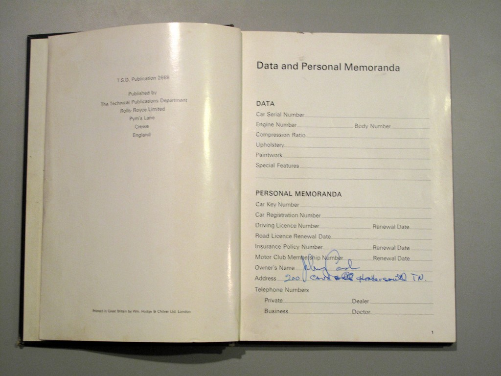 Johnny Cash's name and address can be found Inside the Rolls-Royce owner's manual.