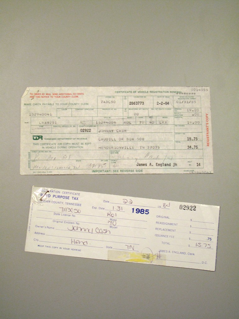 Included with the sale are registration and tax receipts from the state of Tennessee. These are dated February 2, 1984.