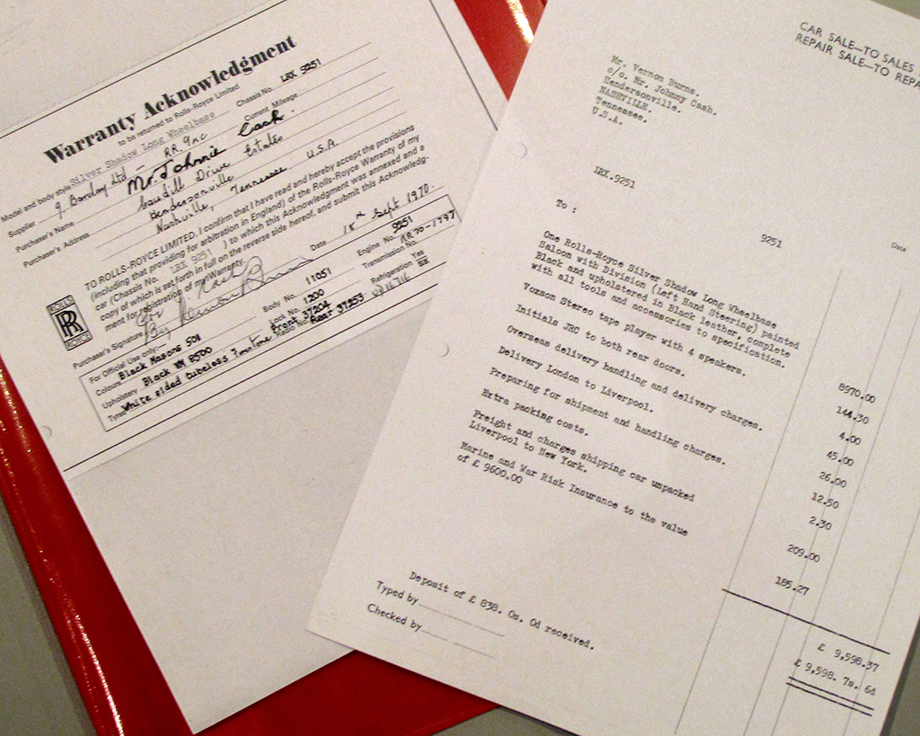 The warranty card at left is made out to Johnny Cash at his Tennessee address.  The page at right shows a Mr. Vernon Burns ordered the car on behalf of Johnny Cash.