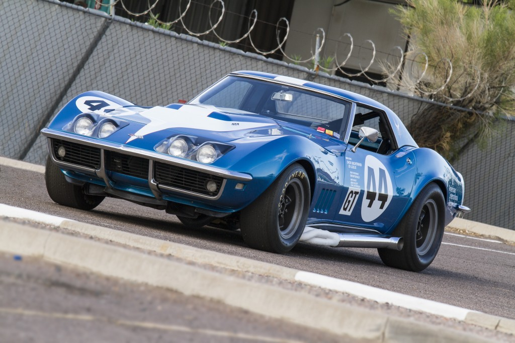 "1968 Chevy Corvette L88 Competition Coupe, created for James Garner's American International Racing team, another featured ""Pit Road"" car."