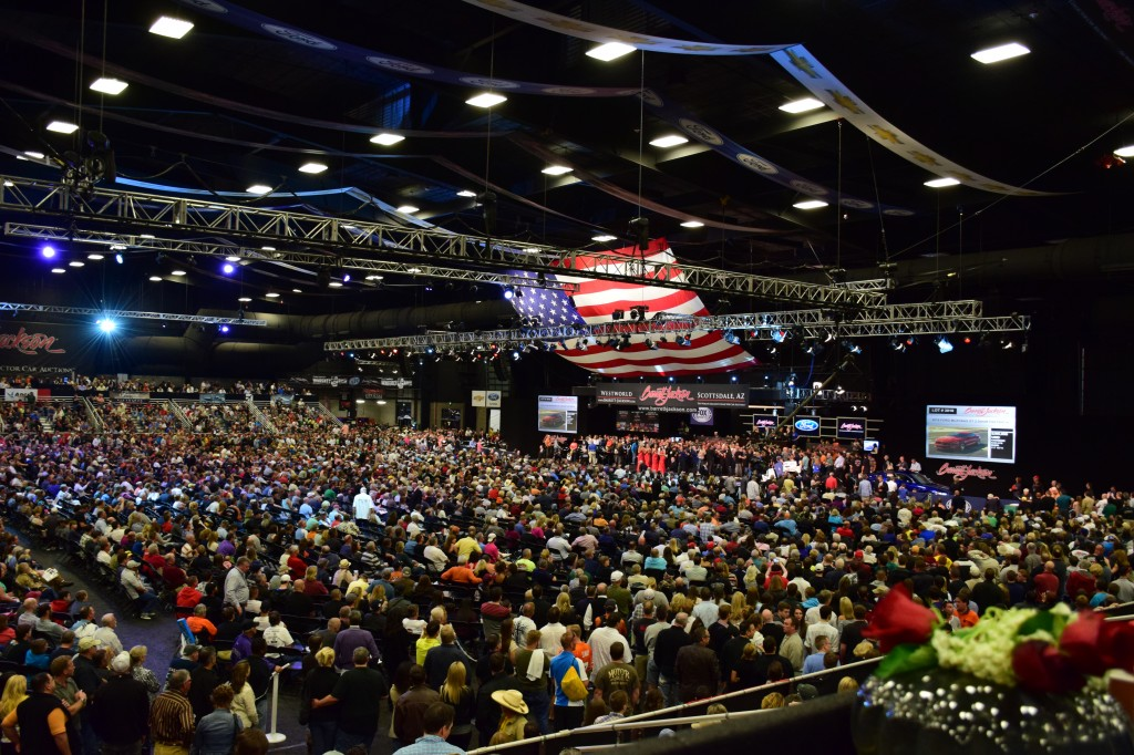 The view from the Owner's Box at the Barrett-Jackson Scottsdale Auction.