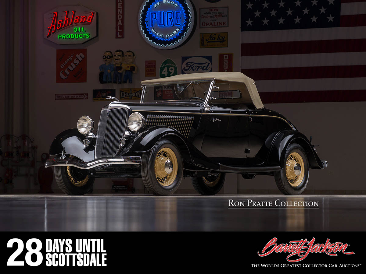 This 1934 Ford Model 40 Deluxe Roadster is one of more than 140 vehicles from the Ron Pratte Collection crossing the block at the Barrett-Jackson Scottsdale Auction in January.