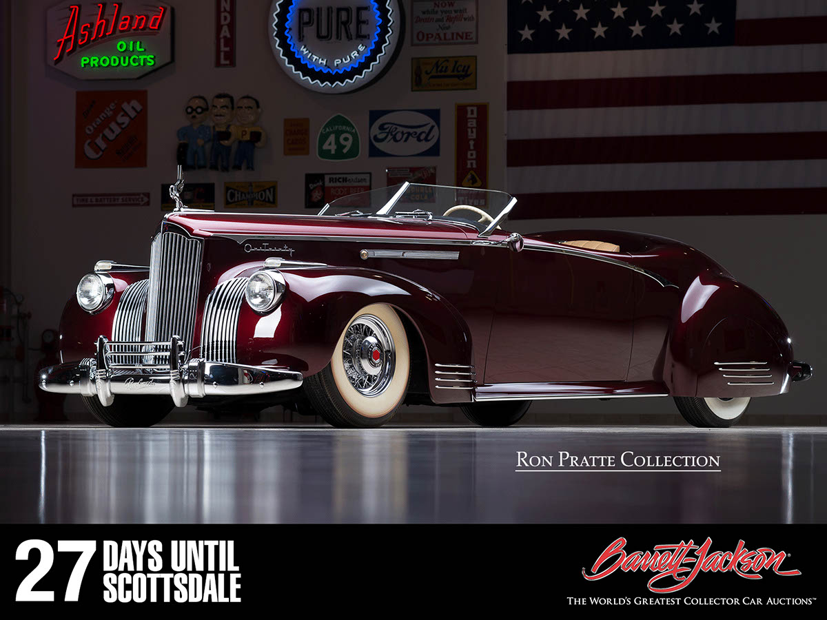 """This 1941 Packard D'Agostino Custom """"Gable"""" is one of more than 140 vehicles from the Ron Pratte Collection crossing the block at the Barrett-Jackson Scottsdale Auction in January."""