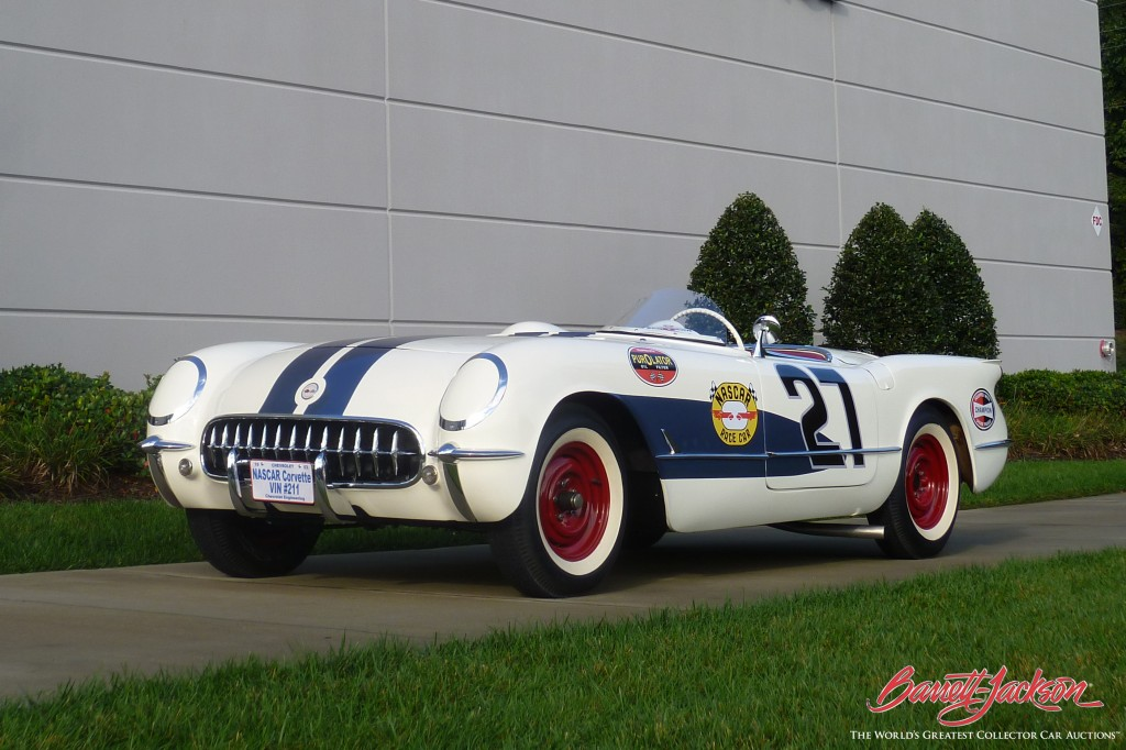 A 1953 Chevrolet Corvette Roadster driven by NASCAR Hall of Fame members Herb Thomas and Junior Johnson is just one of many great race cars set to cross the block in January at the 44th Annual Barrett-Jackson Scottsdale Auction.