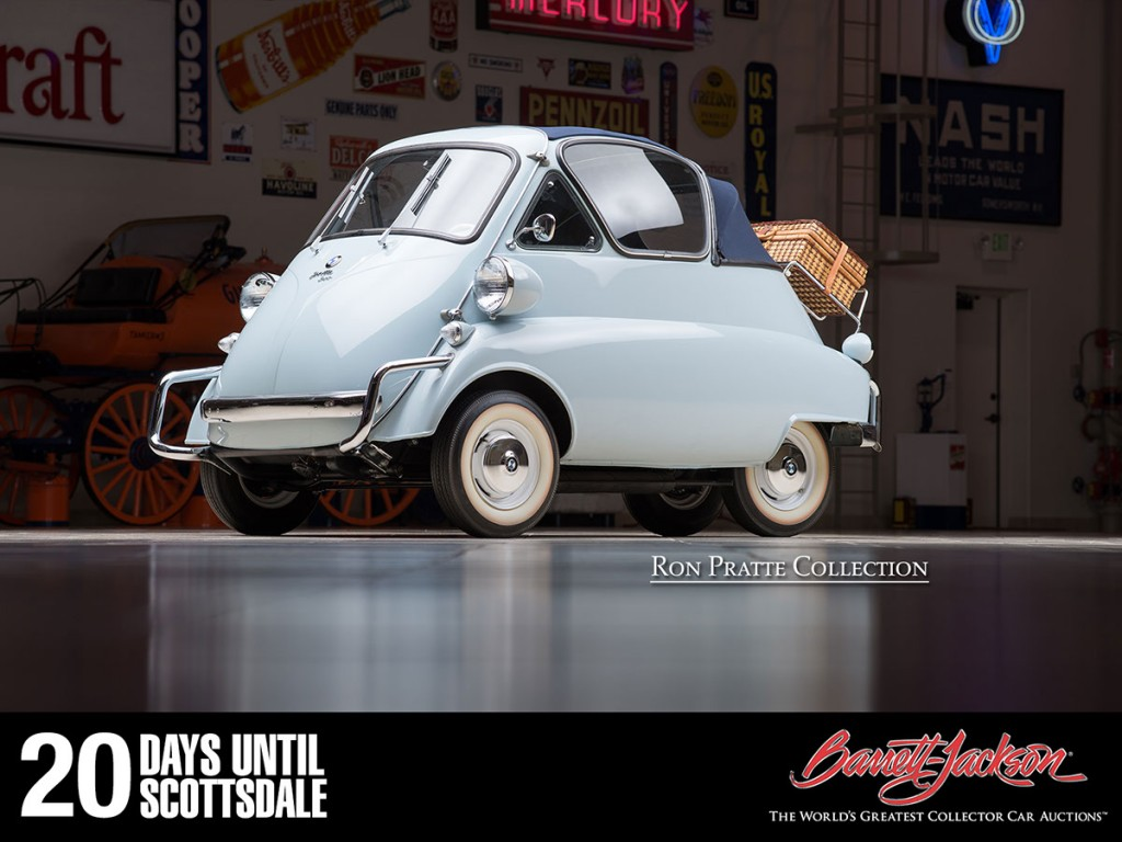 This 1956 BMW Isetta Convertible is one of more than 140 vehicles from the Ron Pratte Collection crossing the block at the Barrett-Jackson Scottsdale Auction in January.