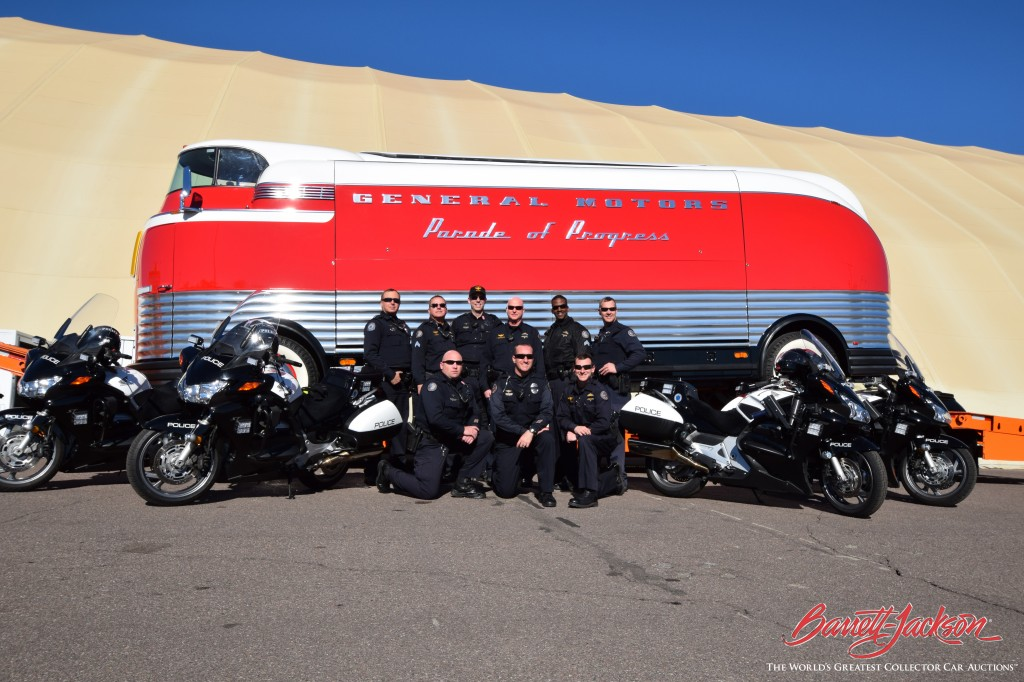 Officers from the Scottsdale Police Department pose with the Futurliner after their escort duty was complete.