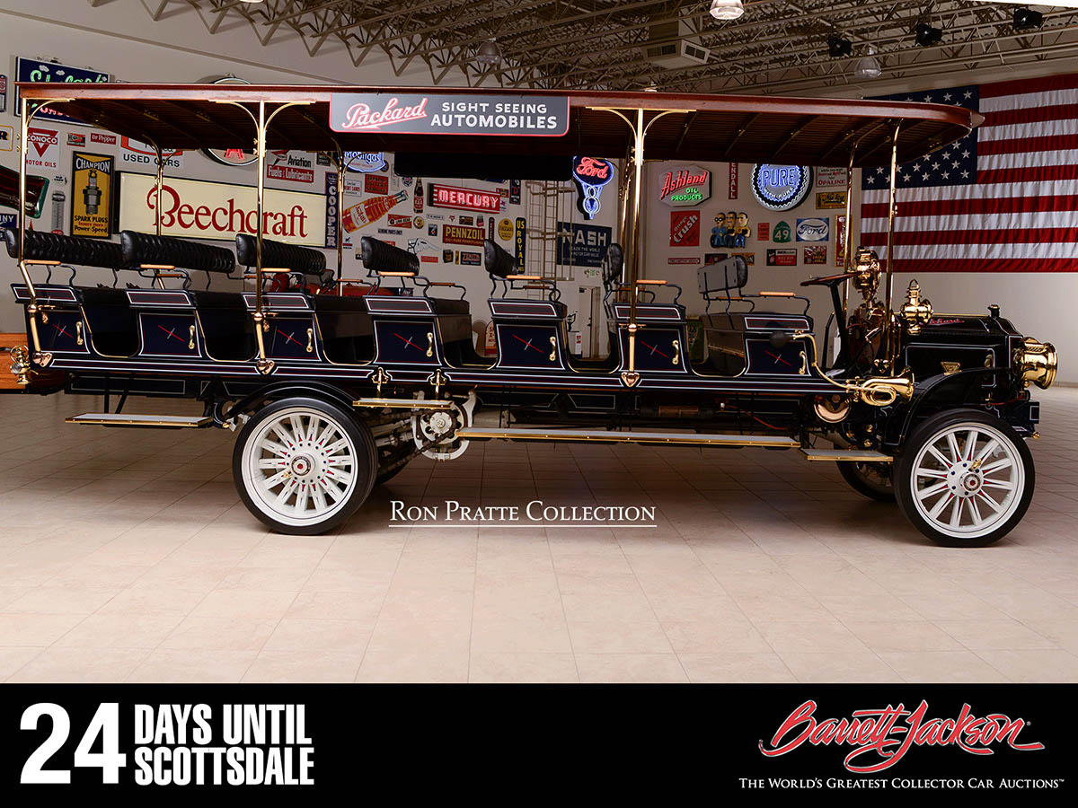 This 1912 Packard Sightseeing Bus is one of more than 140 vehicles from the Ron Pratte Collection crossing the block at the Barrett-Jackson Scottsdale Auction in January.