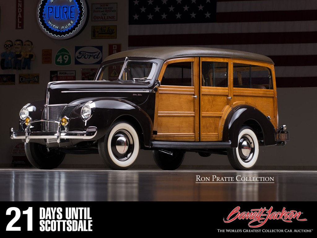 This 1940 Ford Woody Wagon is one of more than 140 vehicles from the Ron Pratte Collection crossing the block at the Barrett-Jackson Scottsdale Auction in January.