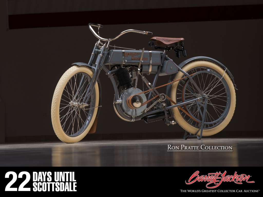 This 1907 Harley-Davidson Motorcycle is one of more than 140 vehicles from the Ron Pratte Collection crossing the block at the Barrett-Jackson Scottsdale Auction in January.