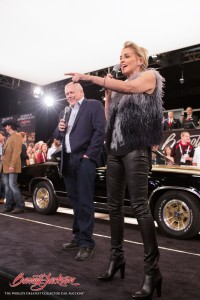 Sharon Stone and Barrett-Jackson chairman and CEO Craig Jackson auction off this 1979 Hurst Olds Cutlass to raise $140,000 for TGen.