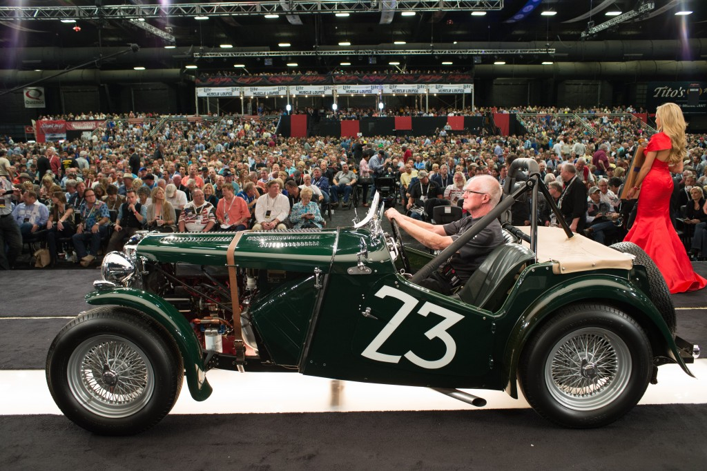 The game-changing 1949 MG TC on the auction block at the 2015 Barrett-Jackson Scottsdale Auction.