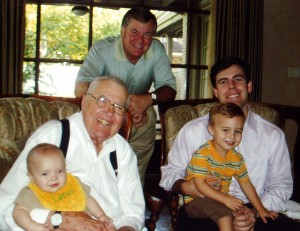 Four generations of Shelbys: Carroll, son Patrick, grandson Aaron, and great-grandsons Pierce and Larson in 2006.